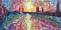 Large London Painting For Sale Westminster Bridge and River Thames