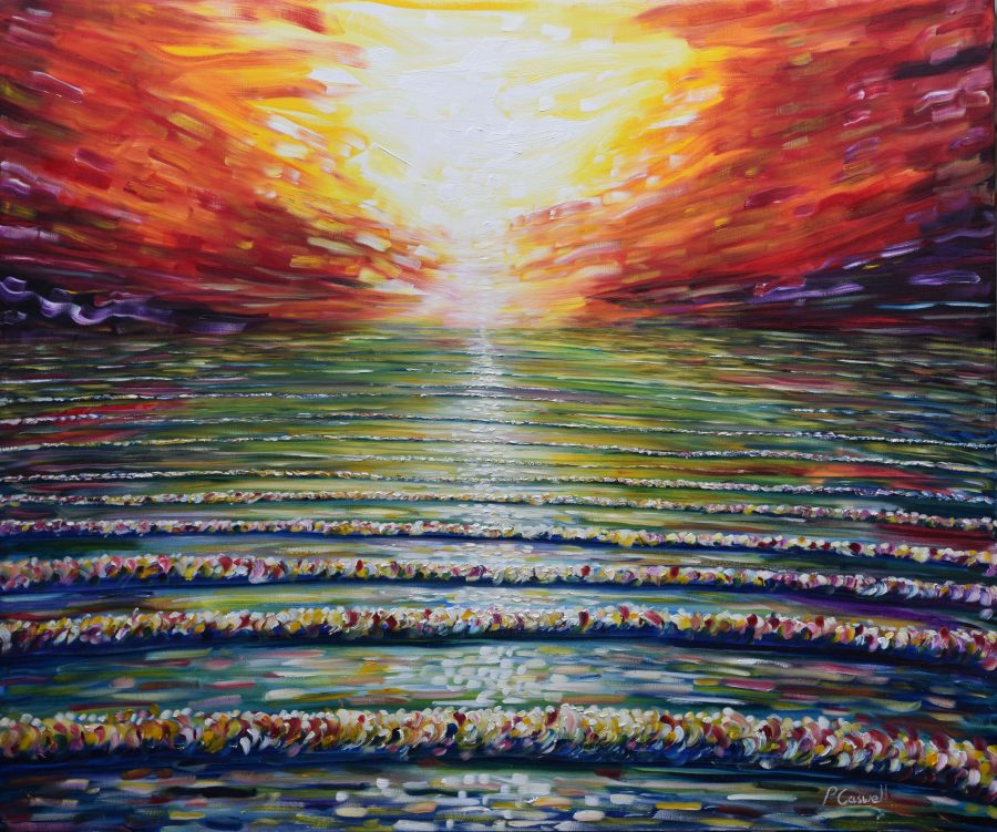large sunset painting for sale. Florida Keys Sunset Painting