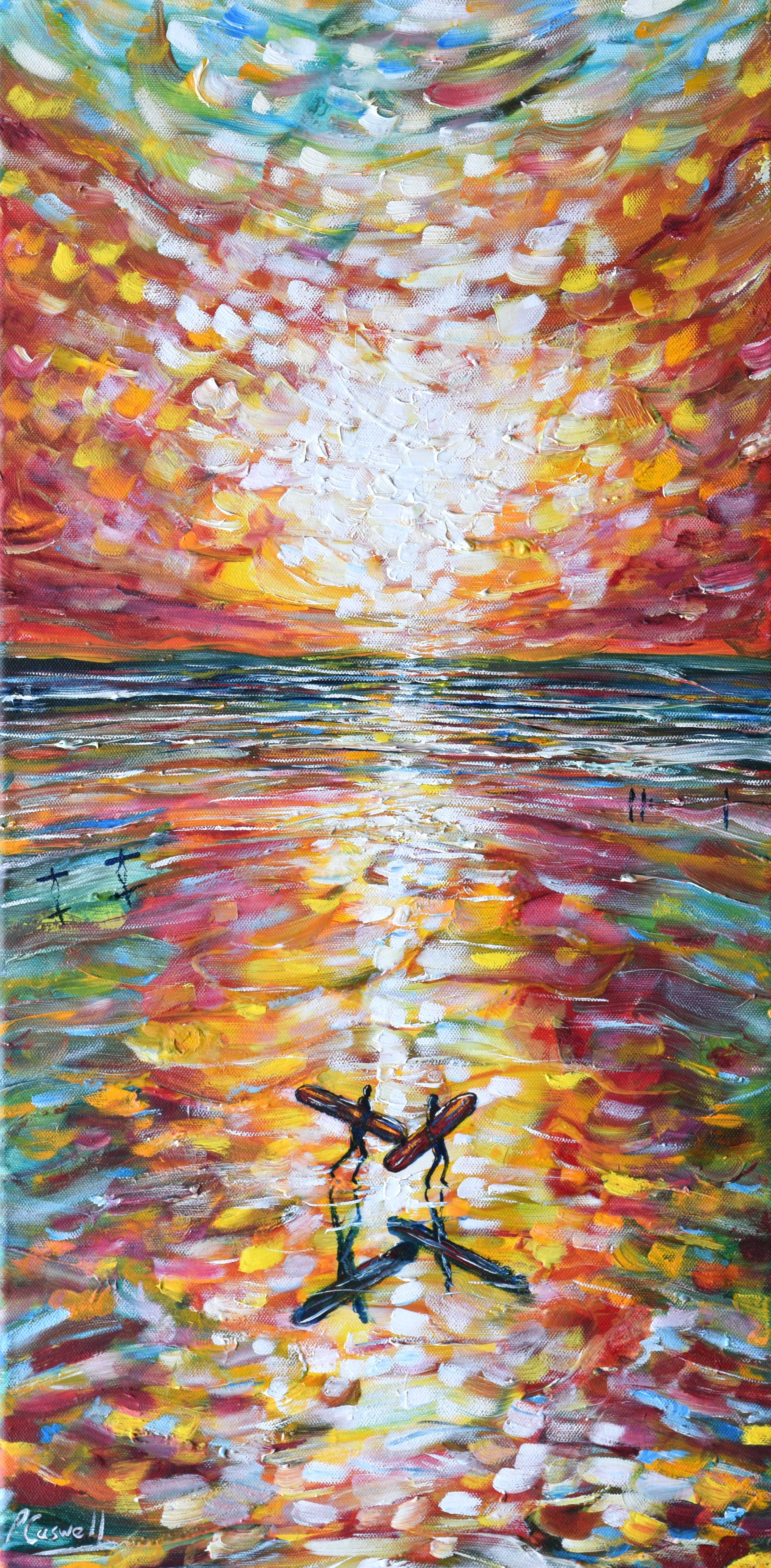 Saunton Surfers Painting