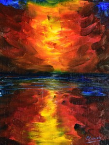 Sunset Painting for sale in deep husky reds
