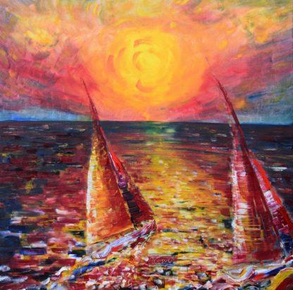Large sailing sunset painting