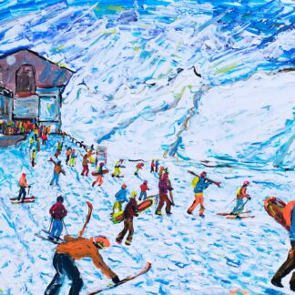 Zermatt Skiing Painting and Ski Print