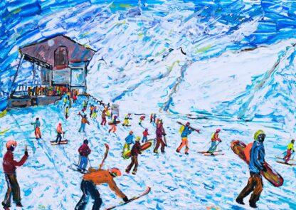 Zermatt Skiing Painting and Ski Print