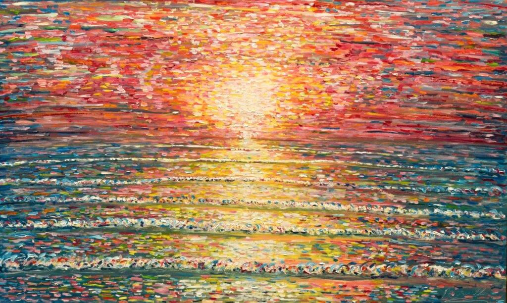 Impressionist Crimson and yellow sunset painting Croyde and Saunton Beach