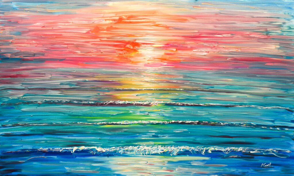 Sunset Painting from South West England Saunton, Croyde, Woolacombe and Putsborough