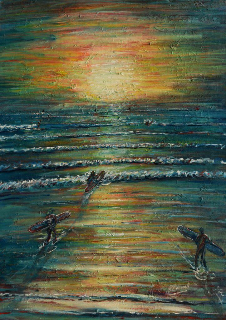 Surfers at Saunton Beach at Sunset
