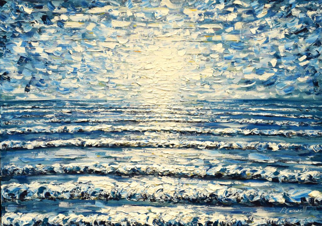 Bright blue sea waves painting