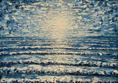 Blue sea waves painting