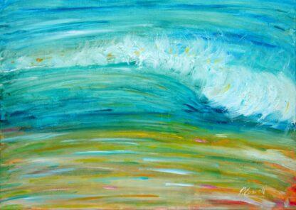 Putsborough beach waves painting