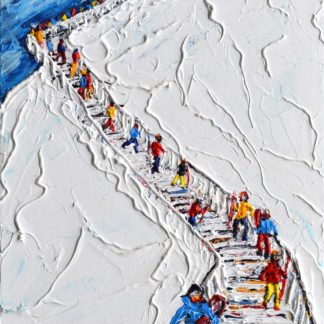 Verbier Mount Fort skiing painting for sale