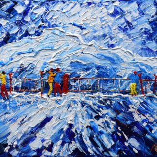 Verbier Mt Fort Four Valleys skiing snowboarding paintings for sale