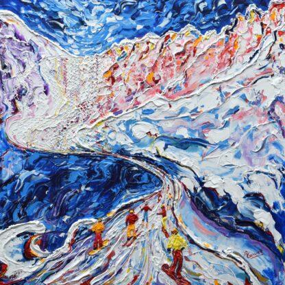 Verbier Skiing Painting For Sale