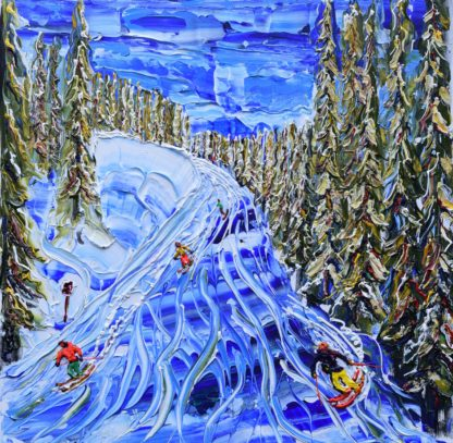 Verbier painting in the snow in winter of skiers and snowboarders on the piste