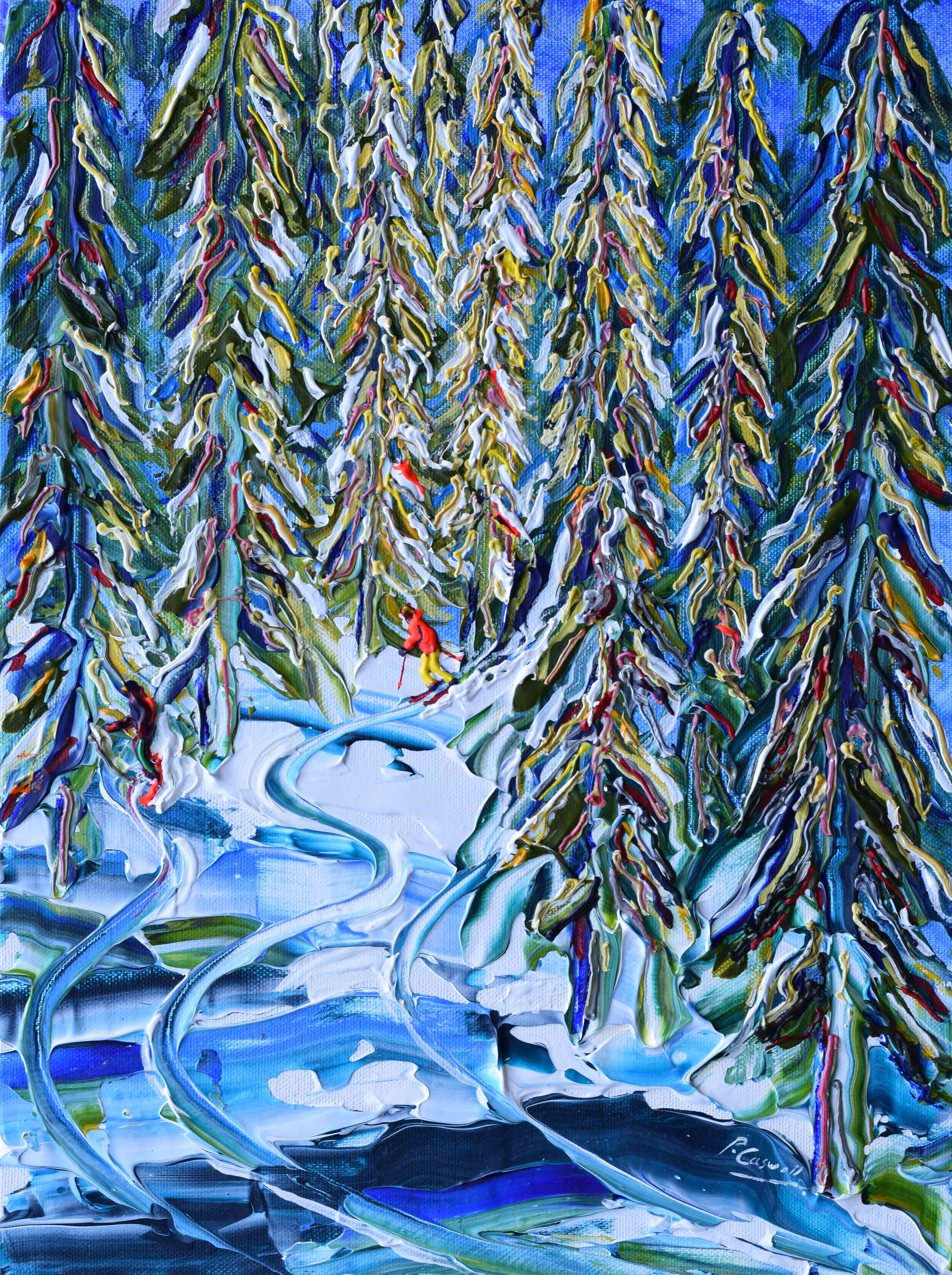 Verbier winter painting through the trees skiing and snowboarding