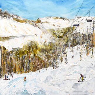 Argentiere Chamonix Ski Print and Ski Painting