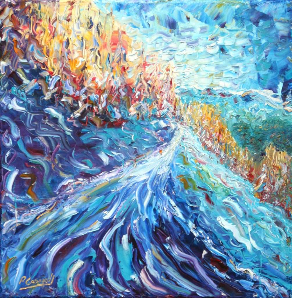 Piste just above Verbier Switzerland. Skiing Snowboard oil painting for sale