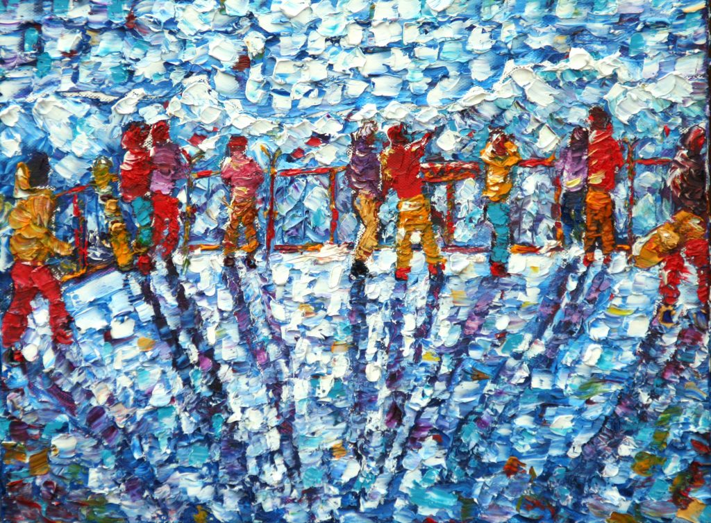 Mt Fort Cable Car Skiing Oil Painting For Sale