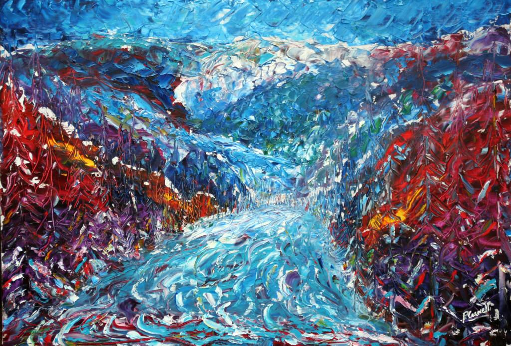 Verbier Ski Painting For Sale