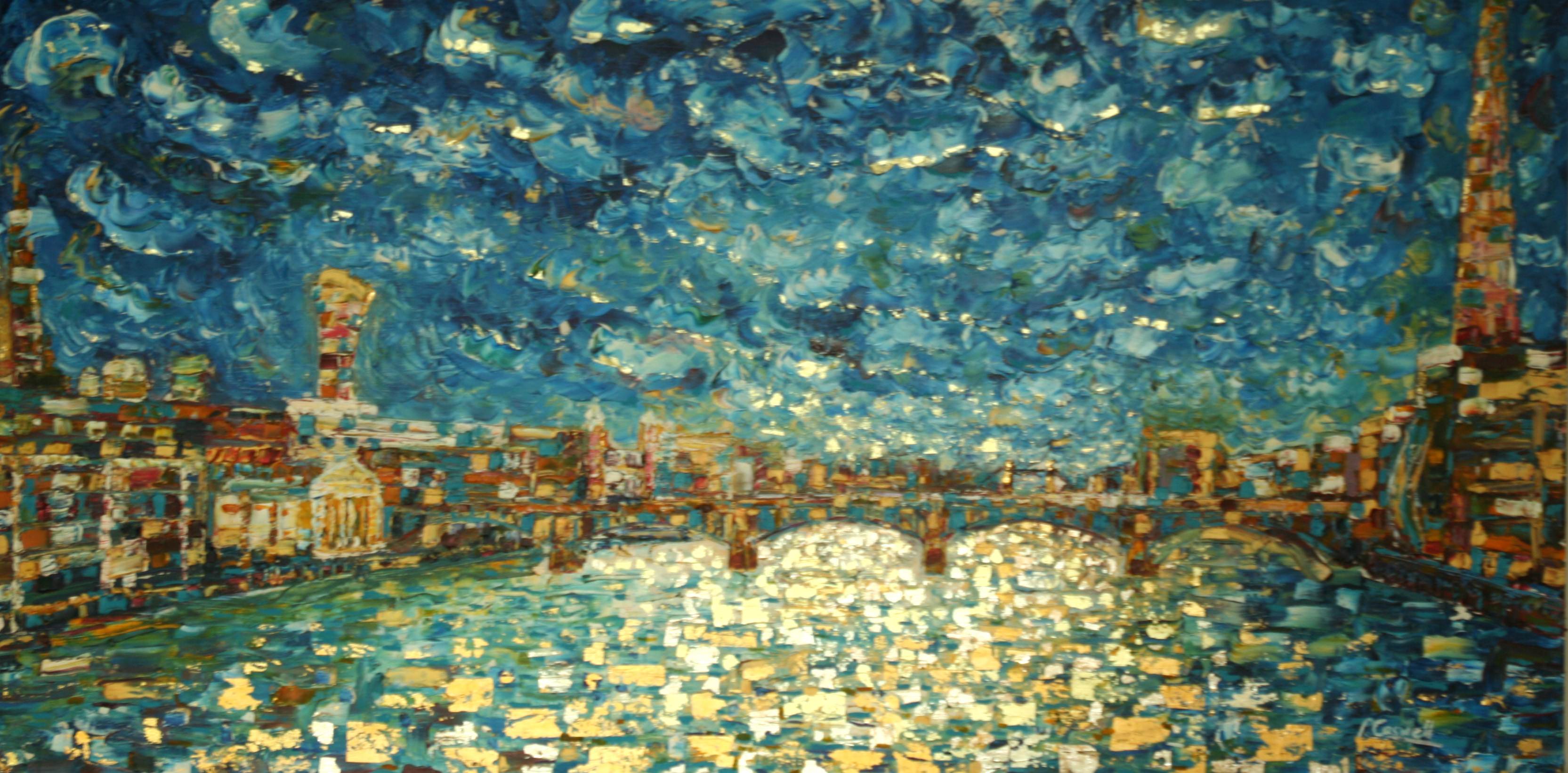 Southwark Bridge River Thames London Oil Painting For Sale With