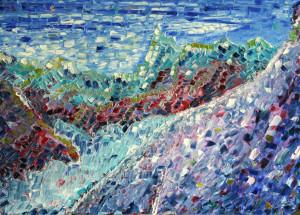 Aiguille Du Midi oil painting on block canvas.