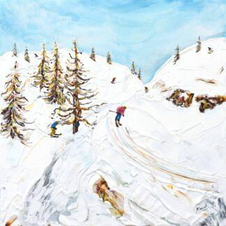 Argentiere Chamonix Ski Painting and Ski Print