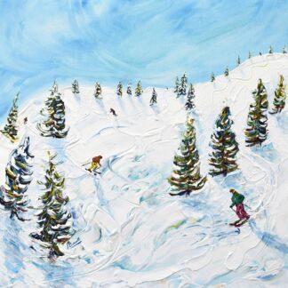 Chamonix Les Houches Ski Painting and Ski Print