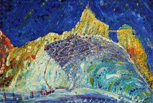 Looking up at the Aiguille Du Midi cable car on Mt BlancChamonix. Skiers setting off to the Glacier off piste route left. Colours and patterns on the glacier centre and right. Oil on canvas 70cm x 50cm x 1.8cm deep.