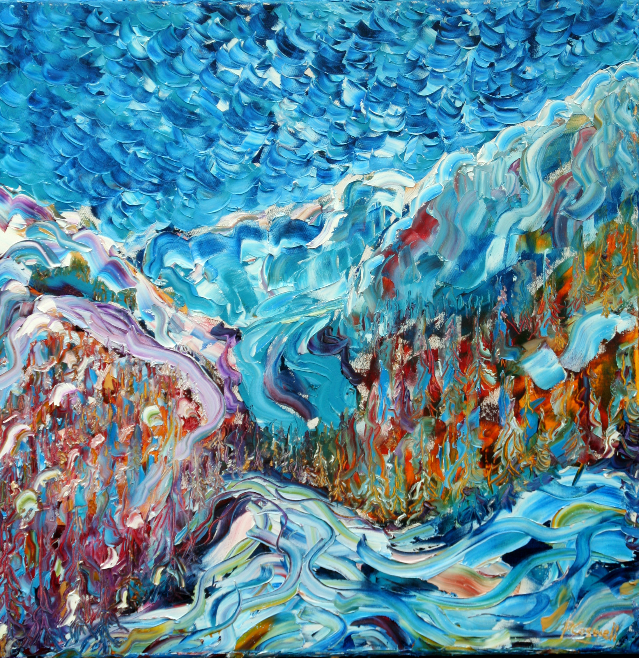 Courmayeur and Mt Blanc Oil Painting from the Italian side.