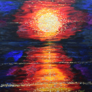 Gold Leaf Sunset Painting For Sale