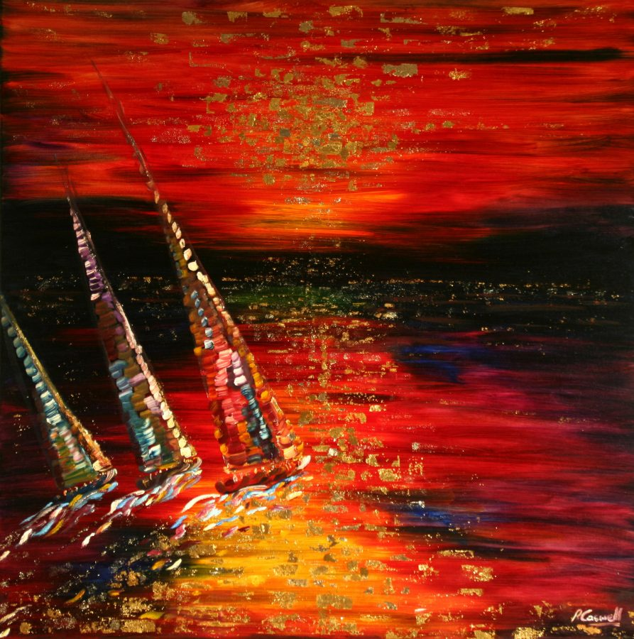 Gold Leaf Yacht Painting as a Print