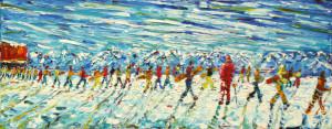 Grande Motte Tignes Val D'Isere Large Ski Painting For Sale