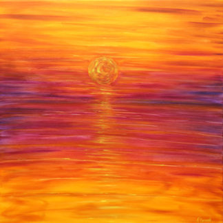 Putsborough sunset painting in orange sky for sale