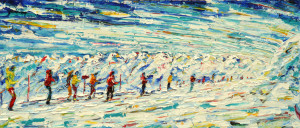 Tignes Grande Motte Skiing Snowboard Painting For Sale