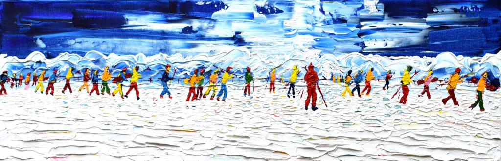 Tignes skiing painting for sale