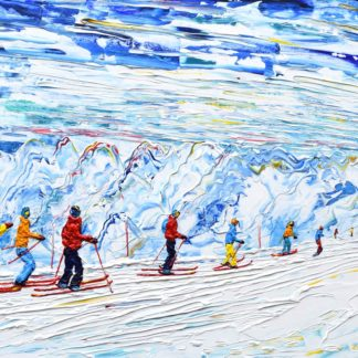 Tignes Val d'Isere Skiing Snowboard painting Grande Motte Cable Car Glacier