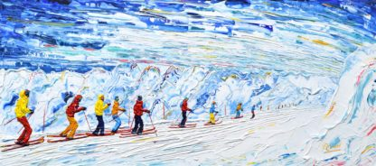 Tignes Val d'Isere Skiing Snowboard painting Grande Motte Cable Car Glacier