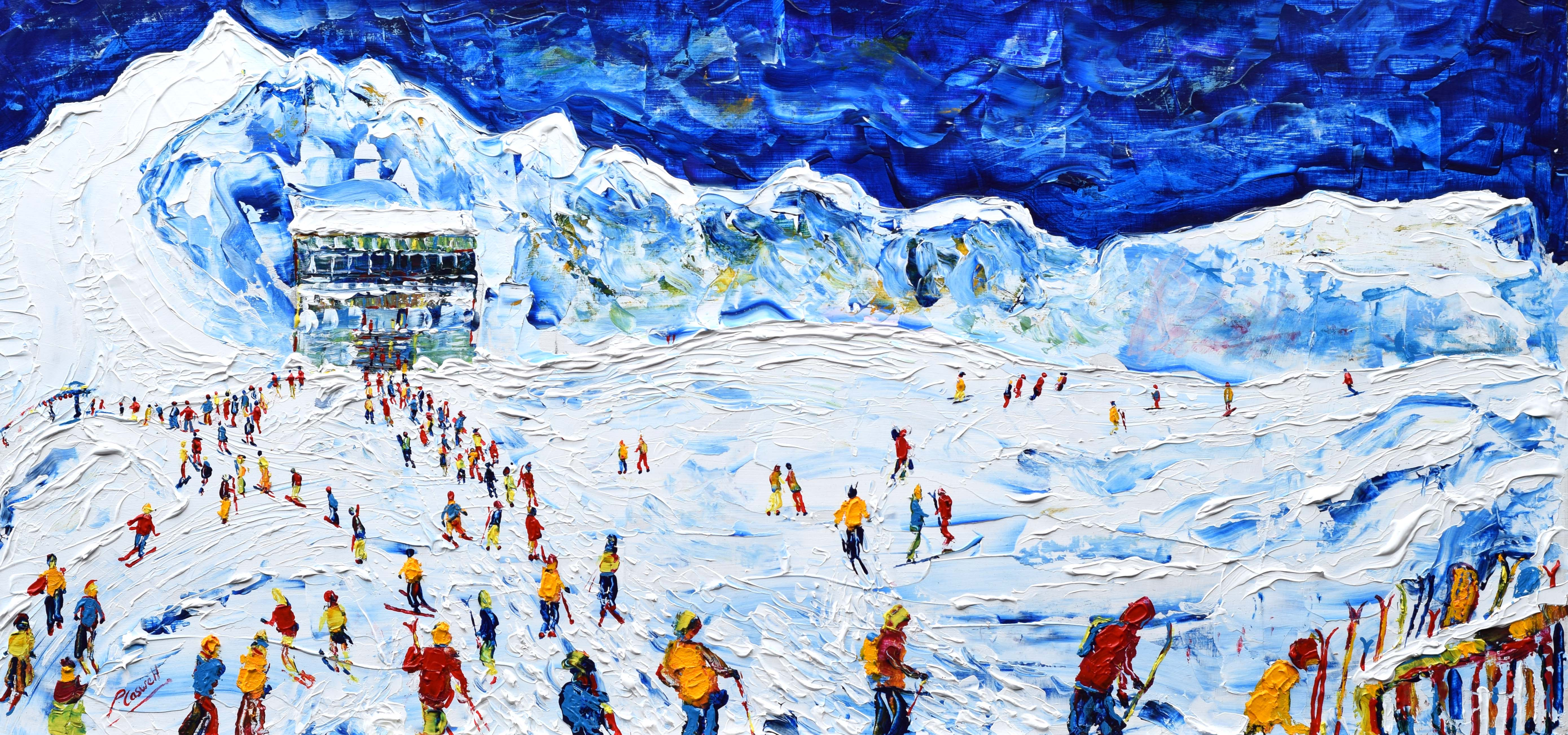 Tignes Val D'Isere Skiing Snowboarding Paintings For Sale