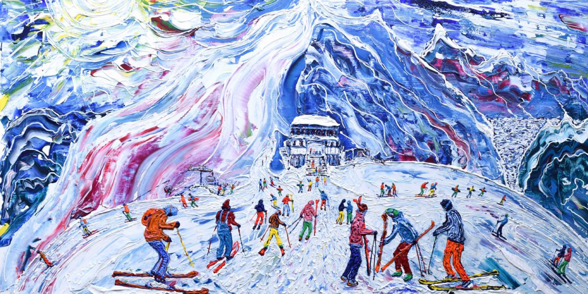 Tignes Val d'Isere Grande Motte Painting. Skiing and Snowboard painting by Pete Caswell as a ski print.