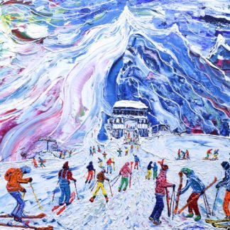 Tignes Val d'Isere Grande Motte Painting. Skiing and Snowboard painting by Pete Caswell.
