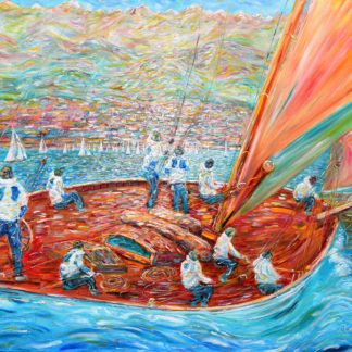 Cannes Sailing Painting Classic Yachts