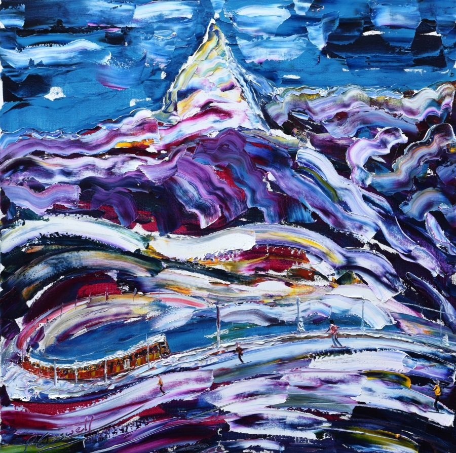 Zermatt Matterhorn pistes and mountain railway painting for sale