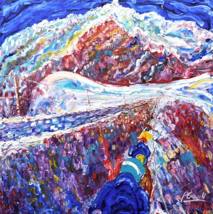 Chamonix Vallee Blanche skiing painting for sale