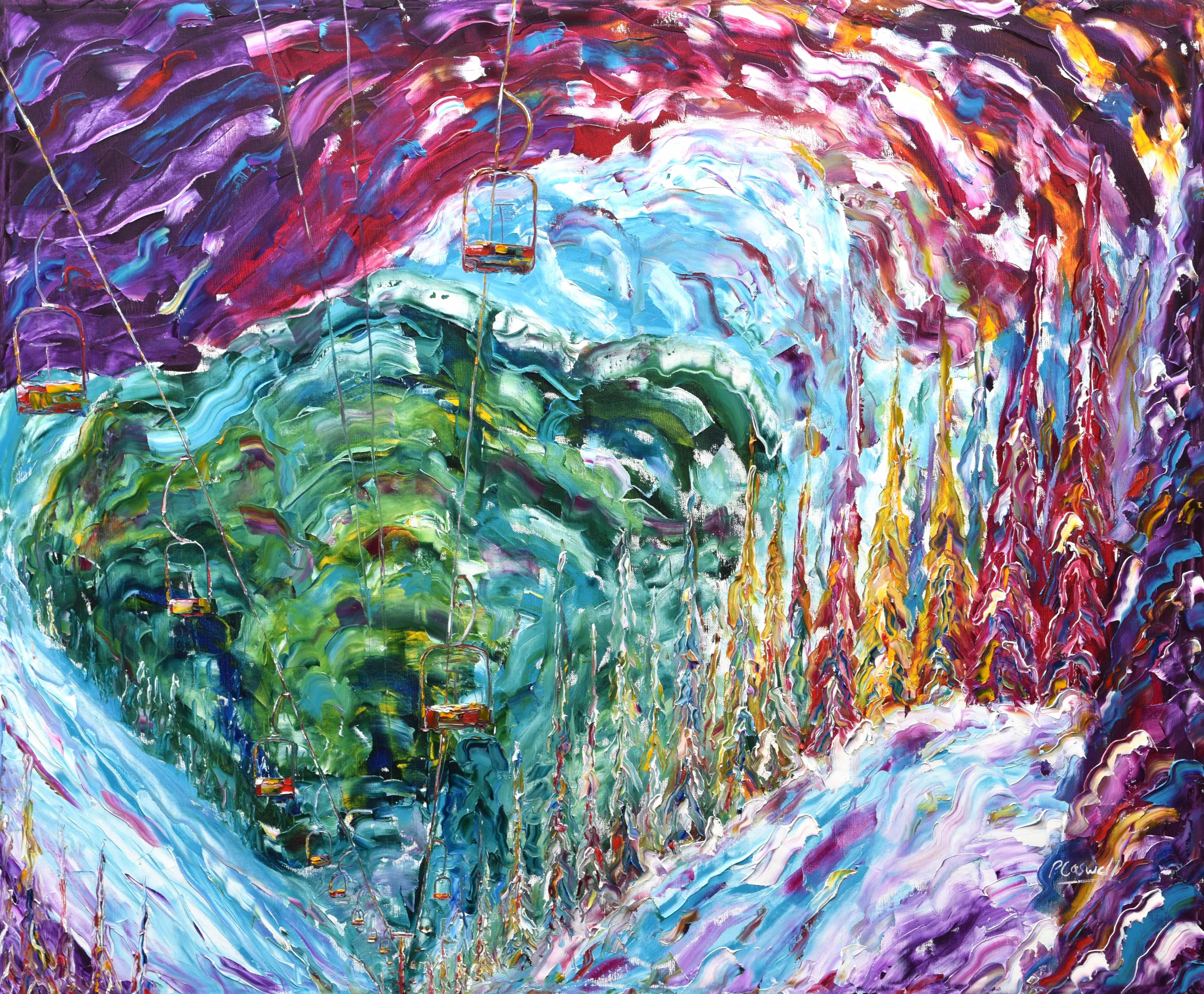 Siiviez Verbier Four Valleys skiing snowboarding painting for sale