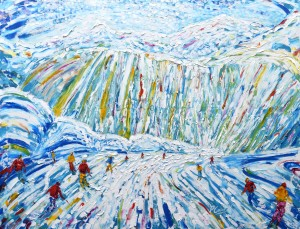 Courchevel Skiing and Snowboarding Painting For Sale