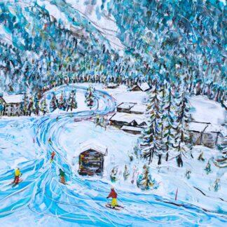 Zermatt Ski Painting and Ski Poster