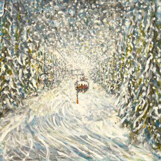 Meribel Val Thorens ski print and ski painting