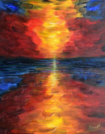 Sunset painting Saunton sands Beach North Devon