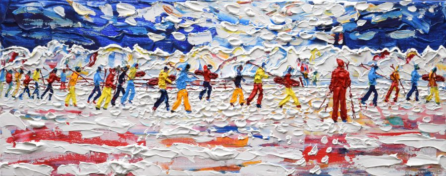 Val D'Isere Tignes Skiing Painting For Sale