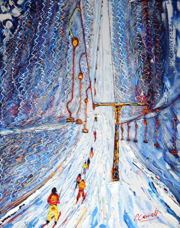 Greppon Blanc Drag lift from Siviez in the Four Valleys near to Verbier and Nendaz Skiing and Snowboarding Painting For sale