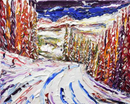 Skiing and Snowboarding Painting above Klosters near Davos